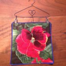 Mug Rug Pansie with Metal Hanger and Clips