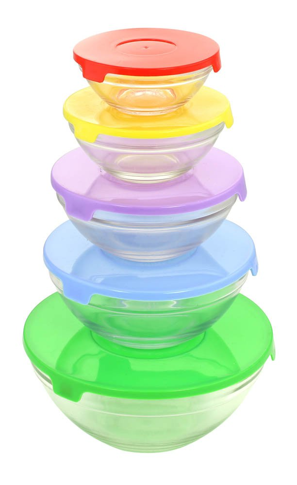 Glass Bowl Set - 10pcs(bowls and lids)