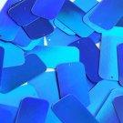 Blue Lazersheen Sequins Rectangle Reflective 1.5 inch Couture Paillettes
