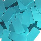 Teal Blue Green Metallic Sequins Rectangle 1.5 inch Couture Paillettes