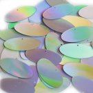 Silver Lazersheen Sequin Oval Ellipse 1.5 inch Metallic Couture Paillettes