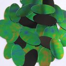 Green Jungle Rainbow Black Sequins Iris Oval 1.5 inch Large Couture Paillettes