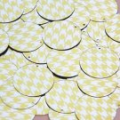 Round Sequin 30mm Yellow Silver Houndstooth Pattern Metallic