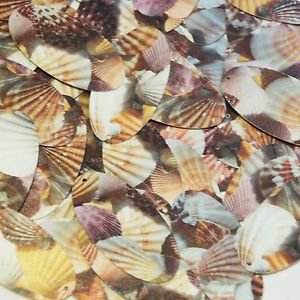 """Oval Sequin 1.5"""" Brown Pink White Seashell Print Opaque"""