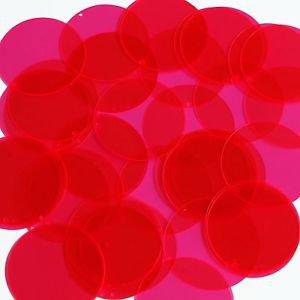 """Round Sequin 1.5"""" Magenta Pink Transparent See-Thru"""