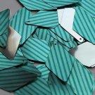 "Long Diamond Sequin 1.75"" Teal Blue Green Corrugated Stripe Metallic"