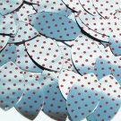 "Navette Leaf Sequin 1.5"" Red Polka Dot on Silver Metallic"
