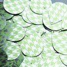 "Teardrop Sequin 1.5"" Lime Green Silver Houndstooth Pattern Metallic"
