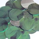 """Round Sequin 1.5"""" Green Leaf Hosta Silver Metallic"""