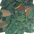 """Navette Leaf Sequin 1.5"""" Green Burdock Dock Leaf Gold Metallic"""