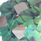 "Square Diamond Sequin 1.5"" Green Leaf Hosta Silver Metallic"