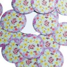 "Round Sequin 1.5"" Lantana Yellow White Pink Floral Flower Opaque"