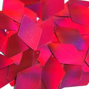 Red Lazersheen Sequins Long Diamond Reflective 1.75 inch Couture Paillettes