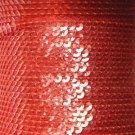Sequin Stitched Trim 4mm ~ Coral Orange Transparent See-Thru ~ Made in USA