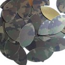 "Navette Leaf Sequin 1.5"" Camo Brown Green Camouflage Gold Metallic"