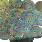 "Round Sequin 1.5"" Peacock Feather Eye Blue Green Gold Metallic"