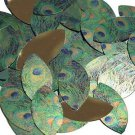 "Navette Leaf Sequin 1.5"" Peacock Feather Eye Blue Green Gold Metallic"