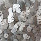 8mm Flat SEQUIN PAILLETTES ~ SILVER Matte Silk FROST ~ Round Disc ~ Made in USA.