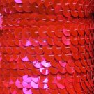 "Hot Pink Fluorescent Sequin Trim 6mm 1/4"" wide stitched, strung by the yard 15'"