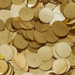 Gold Shiny Metallic 20mm Sequin Round Paillette Center Hole ~ Made in USA