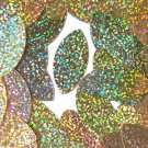 "Gold Glitter Hologram Navette Leaf 1.5"" Couture Sequin Paillettes. Made in USA"