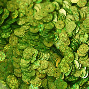 8mm Flat SEQUIN PAILLETTES ~ LIME GREEN Laser MULTI  HOLOGRAM ~ Made in USA