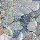 20mm ROUND SEQUIN PAILLETTES ~ SILVER MULTI HOLOGRAM Metallic ~ Made in USA