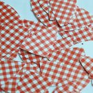 "Fishscale Fin Sequin 1.5"" Red White Gingham Plaid Checker Pattern Opaque"