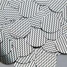 Round Sequin 30mm Black Silver Chevron Zig Zag Pattern Metallic