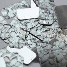 "Rectangle Sequin 1.5"" Gray Stone Rocks Pebbles Gravel Silver Metallic"