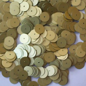 10mm Flat SEQUIN PAILLETTES ~ GOLD MATTE Silk Frost ~ Round Disc ~ Made in USA.