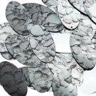 "Oval Sequin 1.5"" Gray Stone Rocks Pebbles Gravel Silver Metallic"