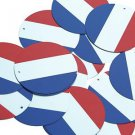 """Round Sequin 1.5"""" French Flag France Red White Blue Opaque"""