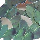 """Navette Leaf Sequin 1.5"""" Green Leaf Hosta Silver Metallic"""