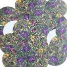 "Round Sequin 1.5"" Flower Meadow Garden Purple Yellow Floral Opaque"