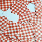 """Square Diamond Sequin 1.5"""" Red White Gingham Plaid Checker Pattern Opaque"""