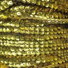 Yellow Metallic 5mm cup Sequin Trim Flat Stitched Strung by the yard 15'