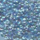 4mm Cup SEQUIN FACET PAILLETTES ~ Soft Pale Blue Crystal Rainbow Iris Iridescent
