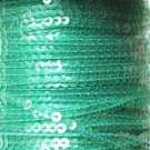 Sequin Stitched Trim 4mm ~ Fresh Green Transparent See-Thru  ~ Made in USA