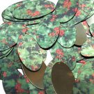 "Oval Sequin 1.5"" Holly Leaves and Berries Green Leaf Red Berry Metallic"