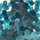 6mm Flat SEQUIN PAILLETTE ~ AQUA TURQUOISE BLUE Transparent  ~ Made in USA