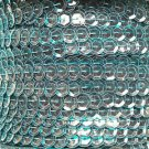 Sequin Trim Bright Blue See Thru 8mm Cup Facet strung by the yard. Made in USA.