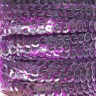 Sequin Trim Violet Purple See Thru 8mm Cup Facet strung by the yard Made in USA