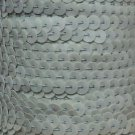 "Antique Pale Green Iris Sequin Trim 6mm 1/4"" wide stitched strung by yard 15'"