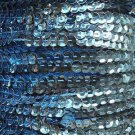 Light Blue Metallic 5mm cup Sequin Trim Flat Stitched Strung by the yard 15'