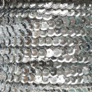 Sequin Trim ~ Silver Metallic ~ 8mm Cup Facet strung by the yard. Made in USA.