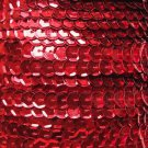 Sequin Trim ~ Red Metallic ~ 8mm Cup Facet strung by the yard. Made in USA.