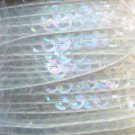 Sequin Trim Pale Crystal Rainbow 8mm Cup Facet strung by the yard. Made in USA.
