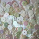 5mm Flat SEQUIN PAILLETTES ~ WHITE RAINBOW Iris Iridescent ~ Made in USA.