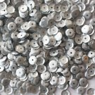 6mm Cup SEQUIN FACET PAILLETTES ~ SILVER Matte Silk Frost ~ Made in USA